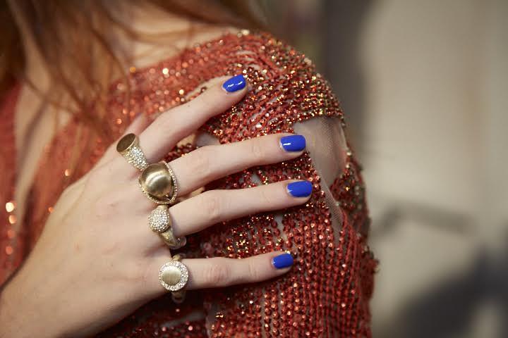 Bright blue nails at Jenny Packham NYFW - Politics of Pretty