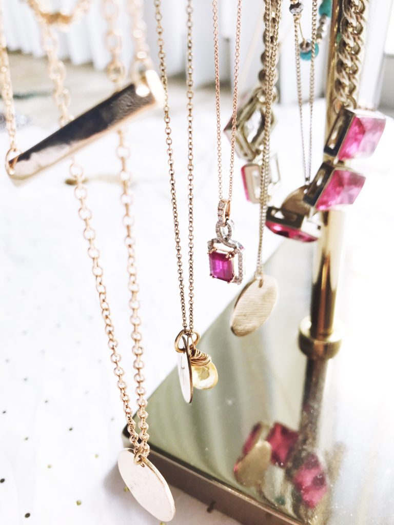 dainty jewelry, necklaces, rose gold necklace, ruby necklace