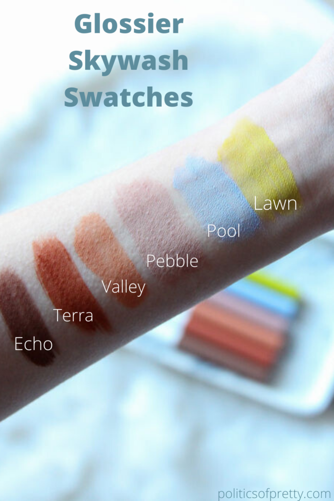 Swatches of Glossier Skywash Sheer Matte Lid Tint