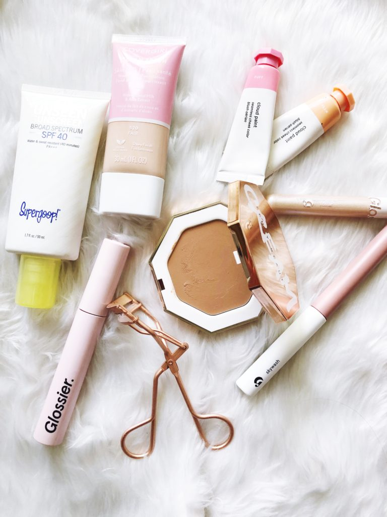 Current Summer Makeup Routine featuring Glossier, Covergirl Skin Milk and creamy bronzer from Fenty Beauty