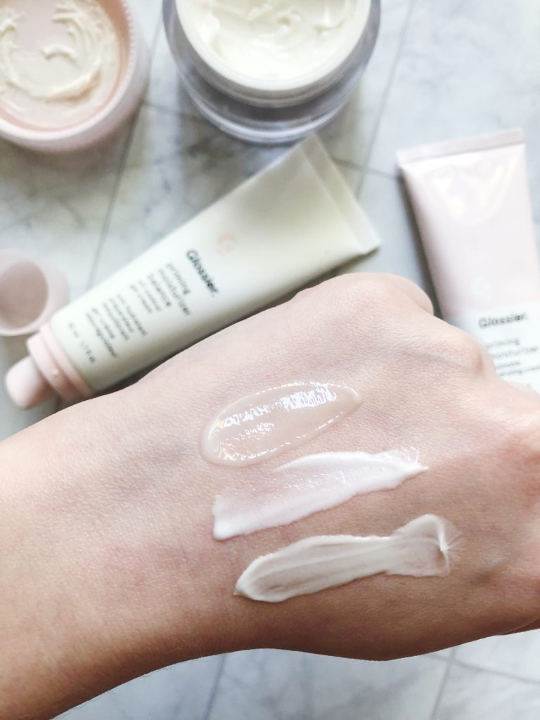 Swatches of Glossier moisturizers