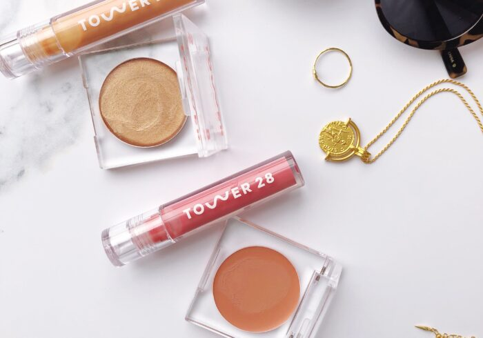 Flat lay of Tower 28 beauty products
