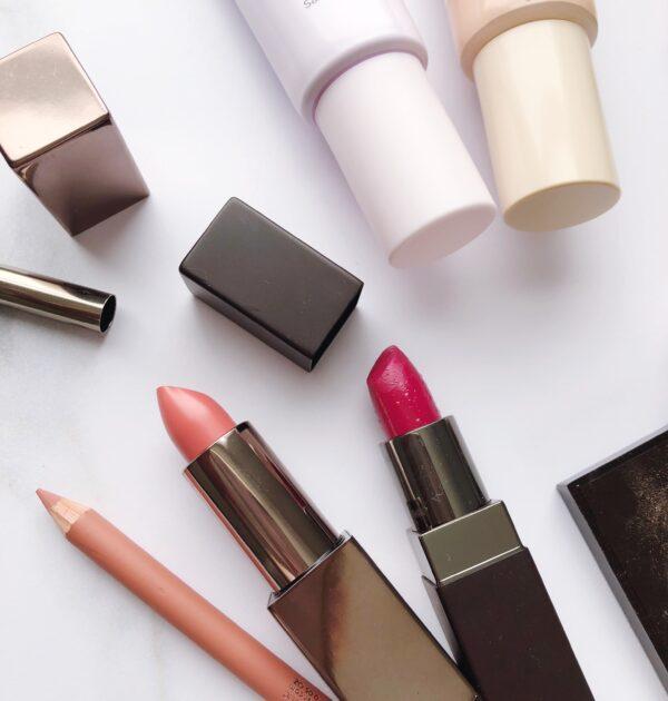 Flat lay of Laura Mercier lipsticks